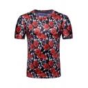 Valentine's Day Rose Floral Printed Mens Round Neck Short Sleeve Slim Fit T-Shirt