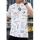 Guys Summer Street Fashion Cool Letter Graffiti Round Neck Short Sleeve Cotton Tee