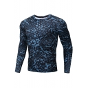 Guys Fashion Blue Camo Pattern Round Neck Long Sleeve Compressed Fitness Training T-Shirt