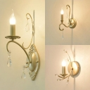 Traditonal Candel Shaped Wall Light with Crystal 1 Light Metal Sconce Light in Gold for Hallway