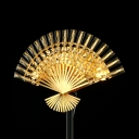 Metal Folding Fan Wall Light with Glittering Crystal Hotel Study Room Creative Sconce Light in Gold