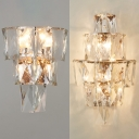 Modern Style Wall Sconce Glittering Clear Crystal Wall Lamp for Hotel Dining Room
