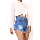 Hot Popular Blue Destroyed Ripped Frayed Hem Denim Shorts for Women