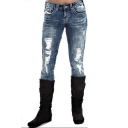Hot Popular Vintage Light Washed Blue Distressed Ripped Slim Fit Jeans