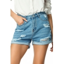 Womens Summer Trendy High Rise Distressed Ripped Rolled Hem Blue Denim Shorts