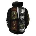 Funny Cool Crown Lion and Moon Wolf Print Sport Casual Long Sleeve Pullover Hoodie
