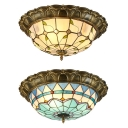 Restaurant Bowl Shade Flush Mount Light Art Glass Vintage Tiffany Ceiling Light in Beige/Blue