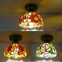 Dome Bedroom Ceiling Fixture with Blossom Stained Glass One Head Tiffany Antique Flush Mount Light