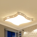 Curved Square Kid Bedroom Flush Ceiling Light Acrylic Modern Stepless Dimming/Warm/White Ceiling Lamp with Crystal Bead
