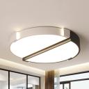 Acrylic 2 Half-Round Ceiling Lamp Kids Stepless Dimming/Warm/White Flush Mount Light for Kindergarten