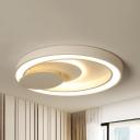 Modern Stylish Circle Flush Mount Light Metal Warm/White Lighting Ceiling Lamp in White for Adult Bedroom