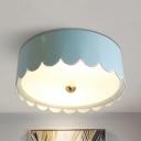 Metal Glass Cake Ceiling Mount Light Child Bedroom Macaron Loft Flush Light in Blue/White
