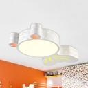 Lovely Goldfish LED Flush Ceiling Light Metal Stepless Dimming/White Ceiling Lamp in White Finish for Teen