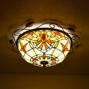 12 Inch Victorian Bowl Flush Mount Light Stained Glass Ceiling Fixture for Kitchen Bathroom