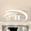 White Furniture LED Ceiling Mount Light Contemporary Acrylic Warm/White Flush Light for Child Bedroom
