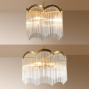 Study Room Round Hanging Light with Crystal Deco Metal 3/6 Lights Elegant Style Gold Chandelier