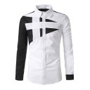 Mens Stylish Colorblock Long Sleeve Basic Button Up Slim Fit Shirt