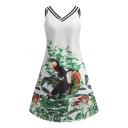 Summer Trendy Floral Bird Pattern V-Neck Sleeveless Mini Tank Dress for Women