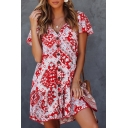 Summer Hot Popular Red Floral Pattern V-Neck Flutter Sleeve Button Down Mini A-Line Dress