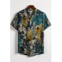 New Stylish Blue Tie Dye Pattern Short Sleeve Mens Casual Loose Shirt