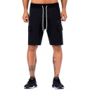 Simple Fashion Solid Color Flap Pocket Zip Pocket Drawstring Waist Sport Sweat Shorts Cargo Shorts