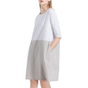 Summer Hot Fashion Two-Tone Colorblocked Round Neck Casual Loose Mini Linen Dress