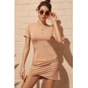 Womens Summer New Trendy Simple Plain Round Neck Short Sleeve Ruched Detail Khaki Mini Bodycon Asymmetrical T-Shirt Dress