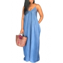 Hot Popular Simple Solid Color V-Neck Sleeveless Floor Length Maxi Denim Blue Cami Dress
