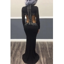Womens Sexy Cut Out Waist Chic Beading Embellished Mesh Long Sleeve Black Floor Length Bodycon Night Club Dress