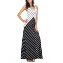 Fancy Zigzag Striped Printed Scoop Neck Sleeveless Maxi Tank Dress for Women