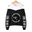 Popular Letter IN LOKI WE TRUST Print Cold Shoulder Long Sleeve Loose Fit Hoodie