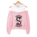 Hot Popular South Side Snake Print Cold Shoulder Long Sleeve Pullover Hoodie