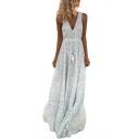 Summer Classic Fashion Polka Dot Printed V-Neck Sleeveless Maxi Beach Dress