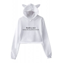 Hot Popular Letter THANK U NEXT Long Sleeve Cute Cat Ear Cropped Hoodie
