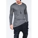 Guys Basic Simple Plain Round Neck Long Sleeve Asymmetrical Hem Grey Hipster T-Shirt