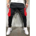 Men's Trendy Drawstring Waist Fashion Colorblocked Flap Pocket Sporty Skinny Pencil Pants