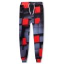 Trendy 3D Geometric Printed Drawstring Waist Grey Sport Casual Joggers Sweatpants
