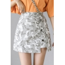 Summer Girls Trendy Camo Printed Button Embellished Split Side Mini A-Line Skirt