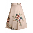 Fashion Apricot Floral Printed High Rise Midi A-Line Flared Skirt
