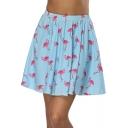 Trendy Light Blue Flamingo Printed Elastic Waist Mini A-Line Skirt