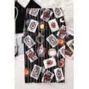 Hot Popular Funny Cartoon Poker Card Graffiti Print Midi Pencil Skirt