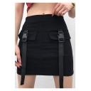 Girls Cool Street Style Buckled Flap Pocket Front Mini Black Military Skirt