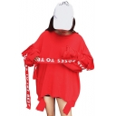 Girls Cool Street Style Letter Ribbon Crewneck Long Sleeve Oversized Sweatshirt