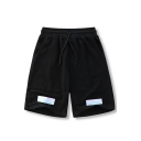 Men's Fashion Reflective Tape Patched Drawstring Waist Black Cotton Casual Sweat Shorts