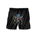 Men's Cool Fashion Skull Printed Drawstring Waist Black Polyester Relaxed Shorts