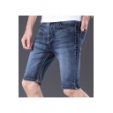 Summer Simple Fashion Light Washed Plain Slim Fit Zip-fly Denim Shorts for Men