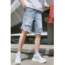 Men's Summer Vintage Stylish Torn Ripped Frayed Hem Straight Fit Light Blue Denim Shorts