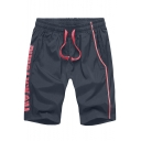 Men's Summer Stylish Colorblock Letter FILE NOT FOUND Printed Drawstring Waist Quick-drying Athletic Shorts