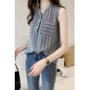 Womens Summer Sleeveless Button V-Neck Fashion Striped Print Casual Loose Chiffon Shirt Blouse
