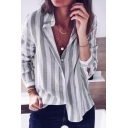 Trendy Vertical Striped Printed Long Sleeve Casual Loose Button Down Shirt